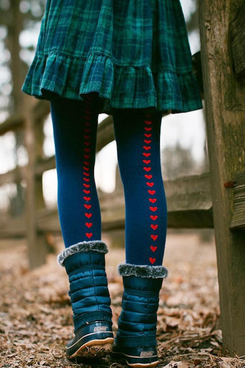 Heart Back Seam Over-the-Knee Socks donkerblauw tabbisocks