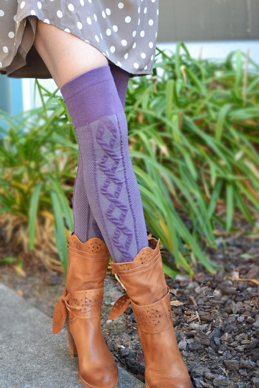 Diamond Links Over-the-Knee Socks lichtpaars tabbisocks