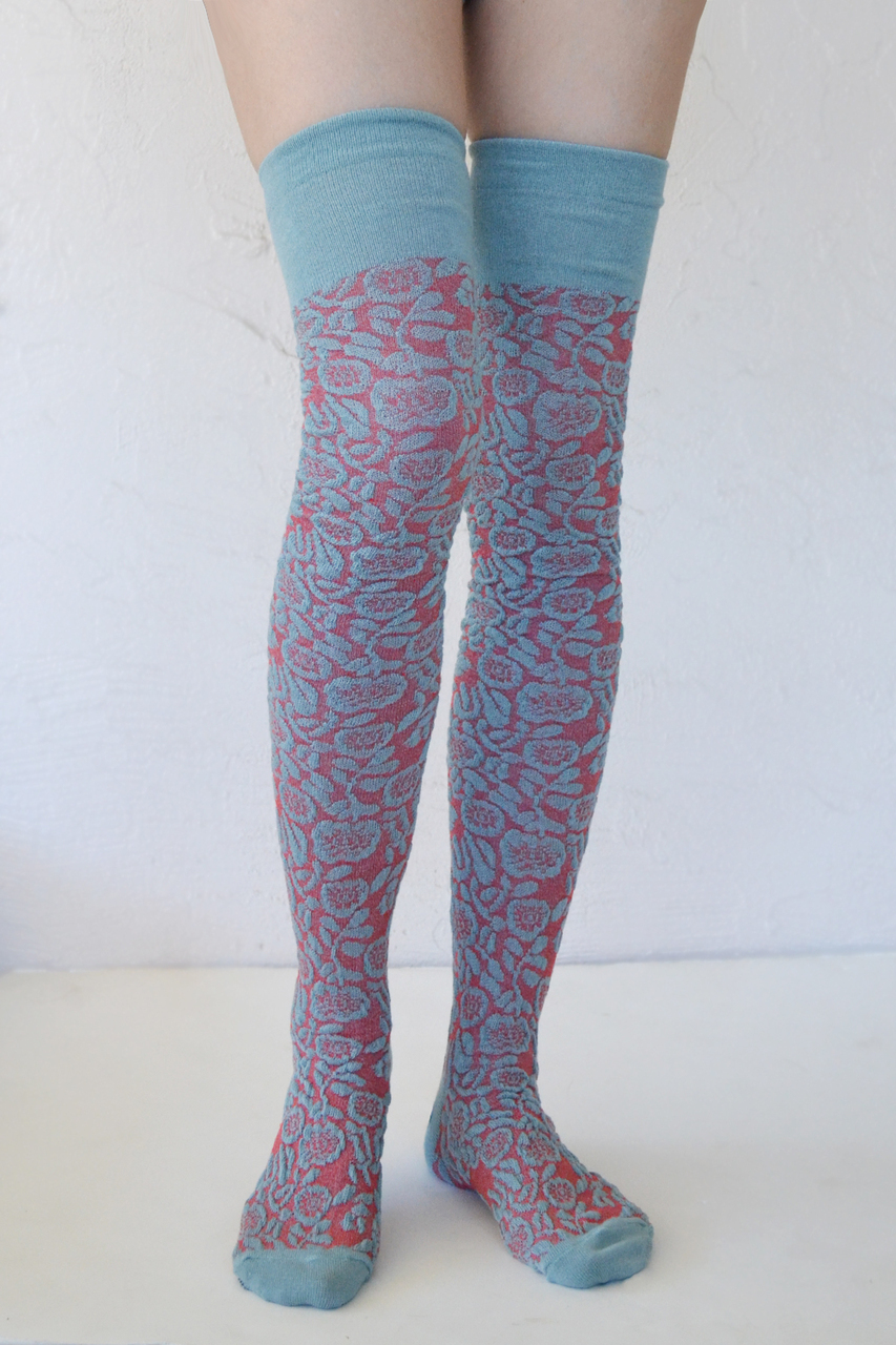 Petal Path over-the-knee mint-koraal tabbisocks