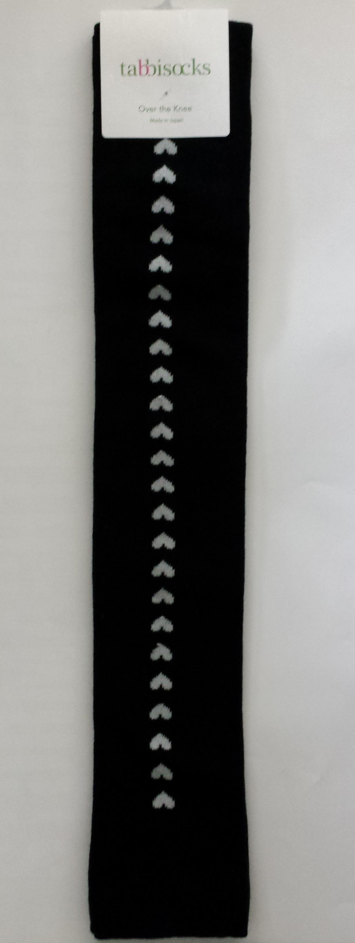 Heart Back Seam Over-the-Knee Socks zwart tabbisocks