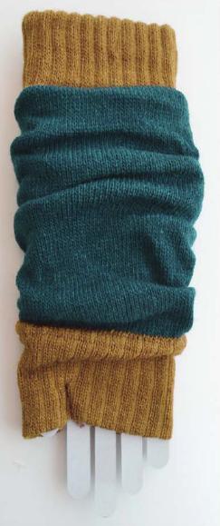 Color Block Arm Warmers teal/mustard tabbisocks