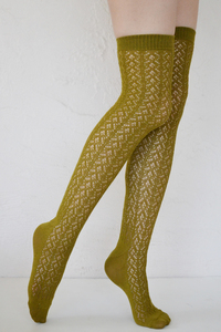 Crochet Over The Knee green tea tabbisocks