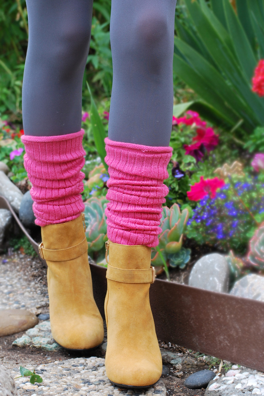 Wool Blend Ribbed Leg Warmers fuchsia Tabbisocks