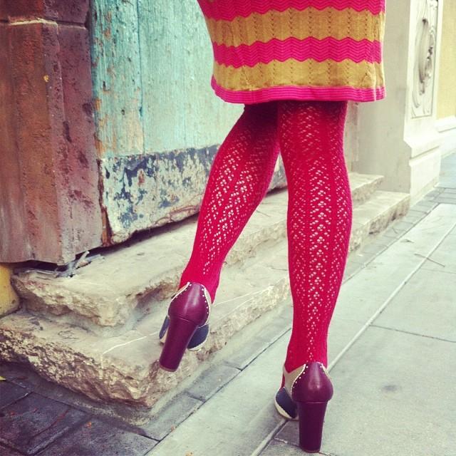 Crochet Over The Knee velvet red tabbisocks