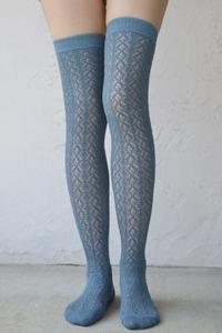 Crochet Over The Knee slate blue tabbisocks