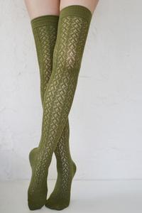 Crochet Over The Knee olive tabbisocks