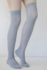 Crochet Over The Knee light grey tabbisocks