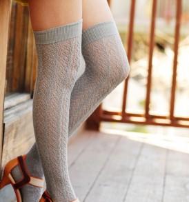 Crochet Over The Knee light grey tabbisocks