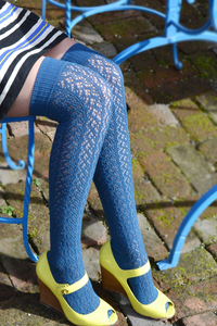 Crochet Over The Knee blue tabbisocks