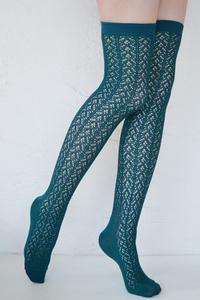 Crochet Over The Knee teal tabbisocks