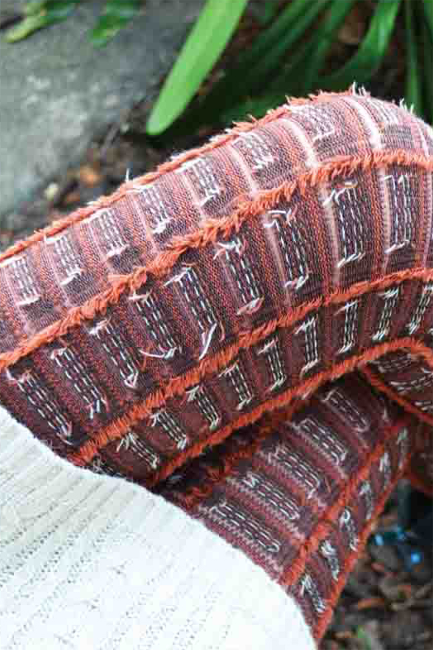 Fringed Check Textured Tights brown/orange tabbisocks