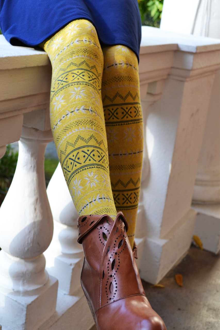 Snow Valley Textured Tights yellow tabbisocks