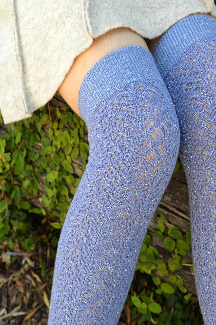 Shimmery Crochet OTK periwinkle tabbisocks