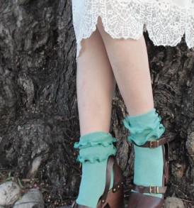 Double ruffles crew socks dusty mint tabbisocks