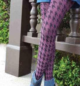Classic houndstooth textured fashion tights pink black tabbisocks