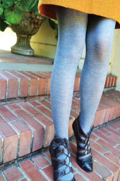 Herringbone fashion tights blue tabbisocks