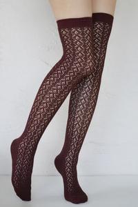 Crochet Over The Knee brown tabbisocks