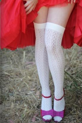 Crochet Over The Knee ivory tabbisocks