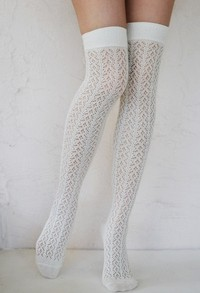 Crochet Over The Knee ivory tabbisocks