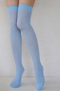 Crochet Over The Knee milky blue tabbisocks