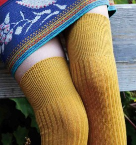 Wool blend ribbed over the knee mustard gold tabbisocks