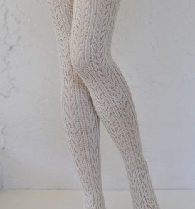 Crochet fashion tights ivory tabbisocks