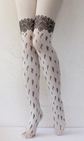 Victorian lace printed opaque tights tabbisocks