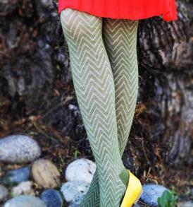 Zigzag fashion tights olive tabbisocks